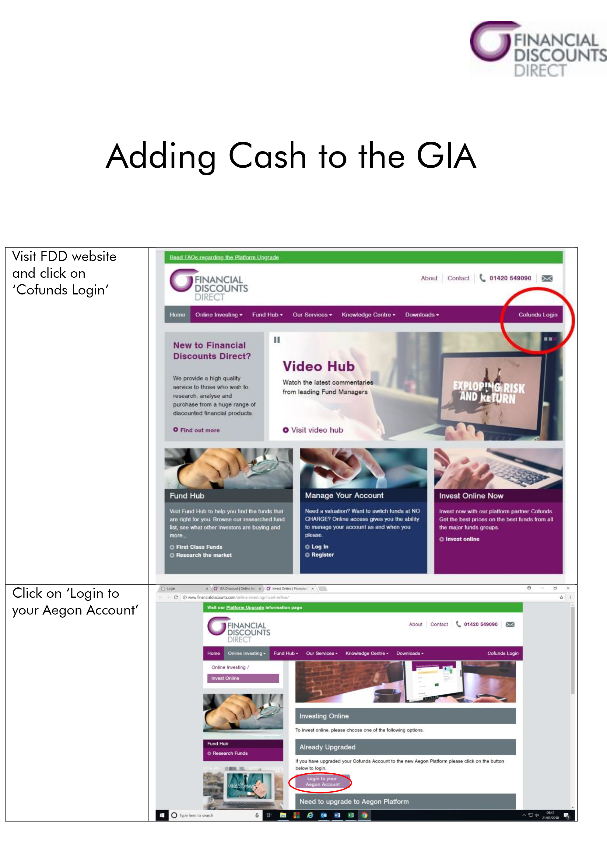 Adding Cash to your GIA